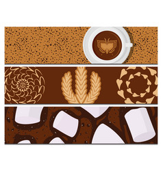 different types of coffee cards chocolate cocoa vector image