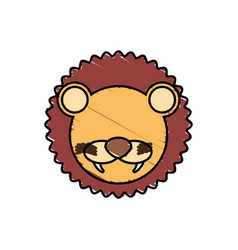 Drawing lion face animal vector