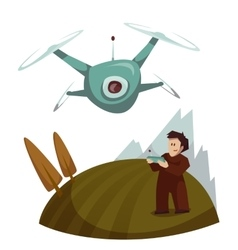 Dron with camera flying and man control it vector