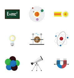 Flat icon science set of scope milky way theory vector