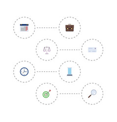 Flat icons portfolio goal office and other vector