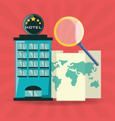 Global map with magnifying glass and hotel vector