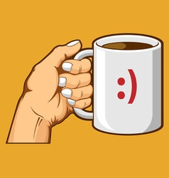 Hand holding coffee mug vector