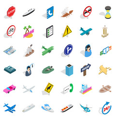 Hard traffic icons set isometric style vector