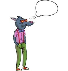 hipster wolf vector image