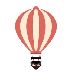 Hot balloon basket pink icon vector