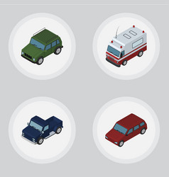 Isometric car set of car first-aid suv and other vector
