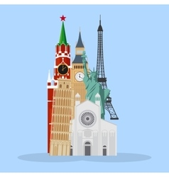 Landmarks cartoon vector image