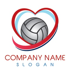 Love volleyball logo vector