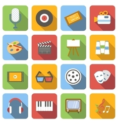 Multimedia flat icons set vector image vector image