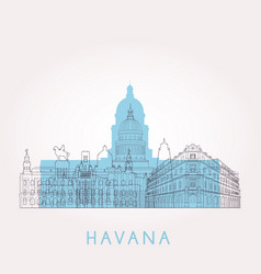 outline havana skyline with landmarks vector image vector image