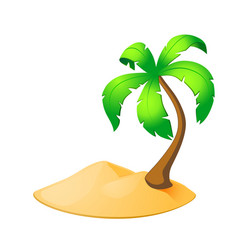 Palm tree island isolated on white vector