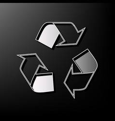 Recycle logo concept gray 3d printed icon vector