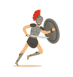 Roman warrior character man wearing roman soldier vector