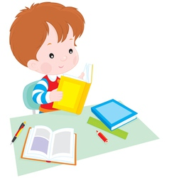 schoolboy at lesson vector image vector image
