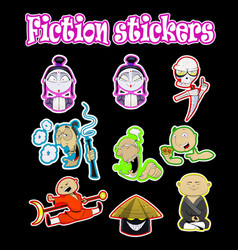 set of cartoon stickers with cool characters vector image