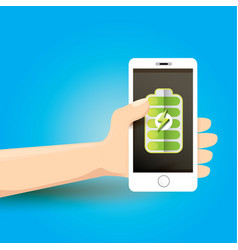 Smartphone with green full battery icon on screen vector
