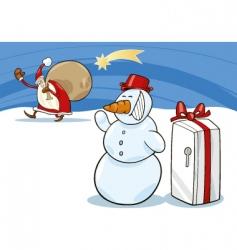 Snowman and santa vector