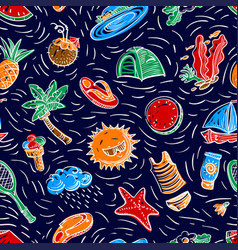 summer objects seamless pattern vector image vector image