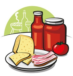 tomato sauce cheese and bacon vector image vector image