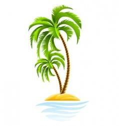 Tropical palm on island vector