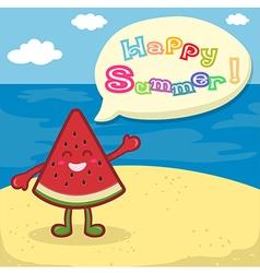 Watermelon happy summer on beach vector