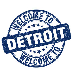 Welcome to detroit blue round vintage stamp vector