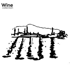 Wine yard hand sketch lanscape vector