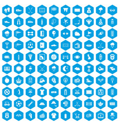 100 golf icons set blue vector