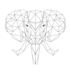 elephant head low poly isolated icon vector image
