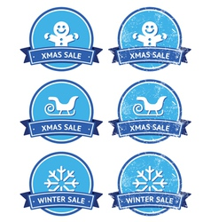 Christmas and winter sale retro labels vector image