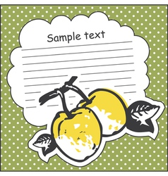 Card with quince and message cloud vector