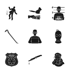 Crime set icons in black style big collection of vector