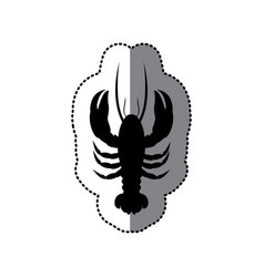Sticker black silhouette graphic with lobster vector