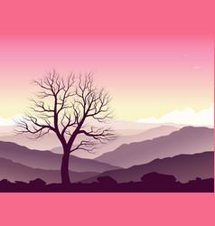 purple mountain landscape vector image