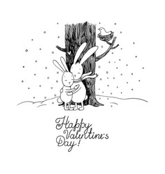Cute cartoon hares winter vector