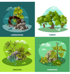Landscape gardening 4 flat icons concept vector