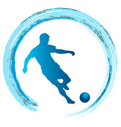 Silhouette of soccer player striking the ball vector