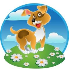 Orange fun dog on a color background vector image