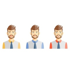 Young man expressing different emotions vector