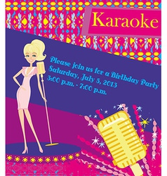 Karaoke night abstract with microphone and singer vector