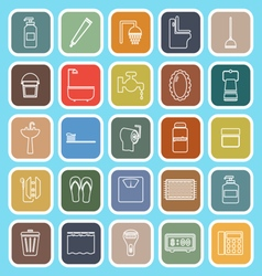 Bathroom line flat icons on light blue background vector