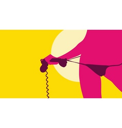 sexy woman holding telephone vector image
