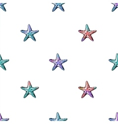 Exotic starfishes colorful seamless pattern vector
