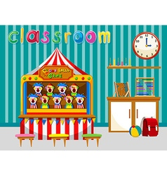 Classroom with game and tools vector