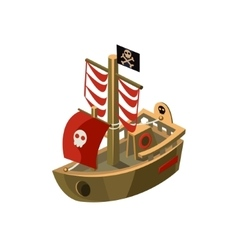 Pirte boat toy icon vector