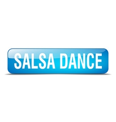 Salsa dance blue square 3d realistic isolated web vector