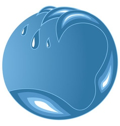 Water wave emblem with copy space vector