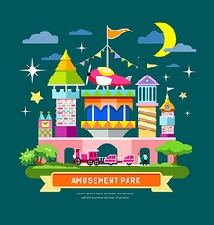 Amusement park concept design vector image