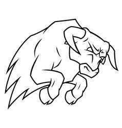 Angry bull attacking vector